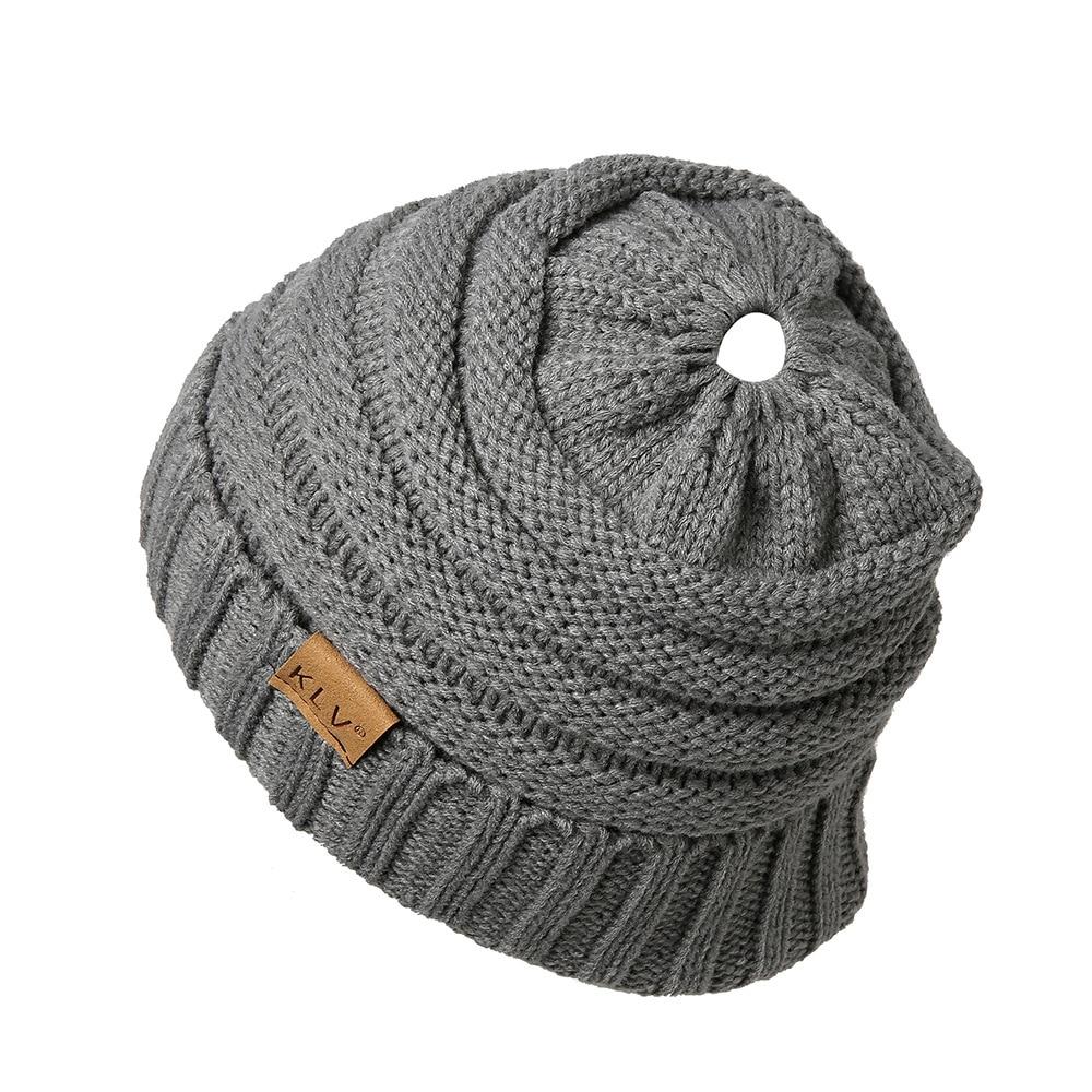 f10edbb2fa0c66 Drop Shipping Ponytail Beanie Hats For Women Winter Cap Knied Skullies  Beanies Warm Caps Female Knit Messy Bun Hats Soft. 1 2 3 4 5 6 7 ...