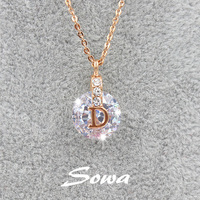 Hot Sale Famous Brand Design 18k Rose Gold Plated With 10mm Swiss Cubic Zirconia Stone Pendant