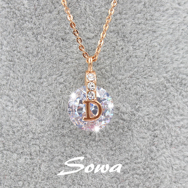Hot Sale Famous Brand Design Rose with 10mm Cubic Zirconia Stone Pendant Necklace,chain necklace for women