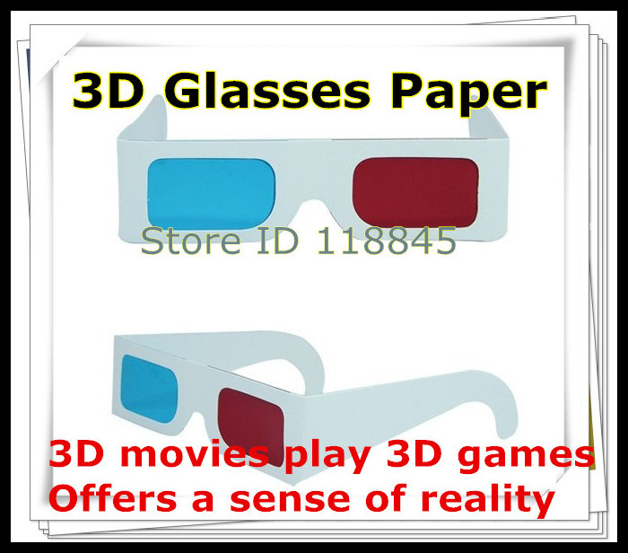 Hot selling 50pcs/lot Paper Anaglyph 3D Glasses Paper 3D glasses view anaglyph Red cyan Red/Blue 3d glass