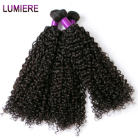 Indian Afro Kinky Curly Weave Human Hair Extensions 100g Non Remy Weave Can buy 3/4 Bundles Natural Black Lumiere Hair Bundles