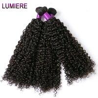 Indiano Afro Kinky Curly Weave Do Cabelo Humano Extensões de 100g Não Cabelo Remy Tecer Pode comprar 3/4 Bundles Preto Natural Lumiere feixes