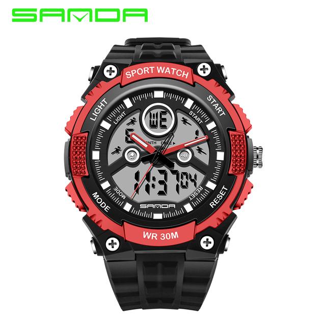 New SANDA Homens Mulheres Ao Ar Livre Esportes relógio de Forma Relógio Militar LIDERADA Relógios dos homens Quartzo Analógico Digital Watch Relogio masculino