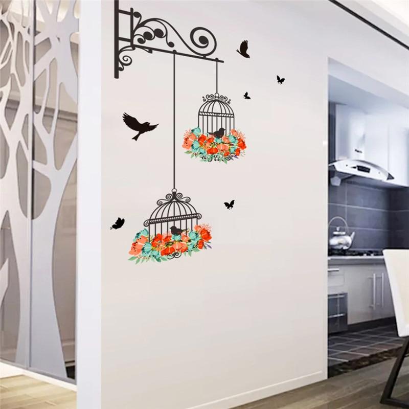 Flower Birdcage Wall Sticker 1
