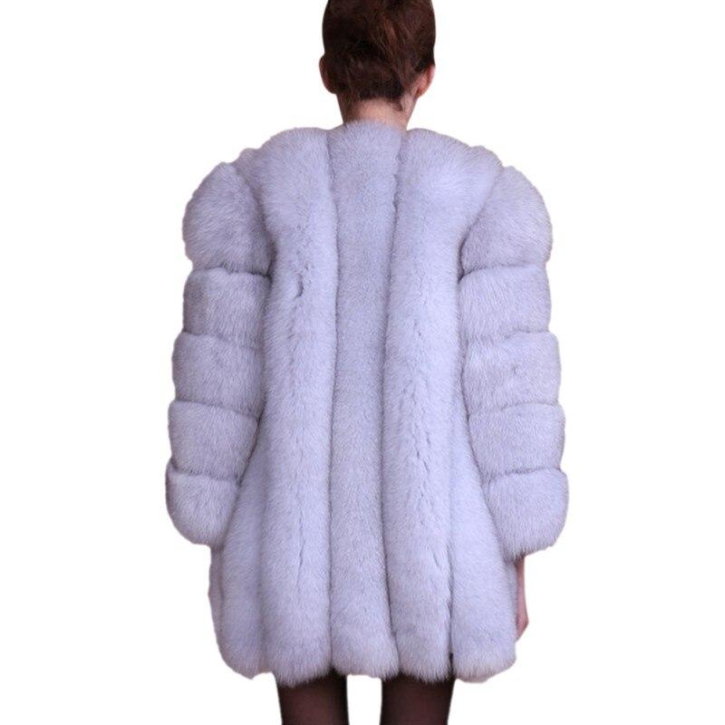 Plus La gris Qualité À bourgogne Haute Luxe Épais Femme Fausse Taille Manteau Nouveau noir Long Fourrure rose pourpre D'hiver Blanc Couleur Souple bleu Solide En De Pardessus xaSZqA