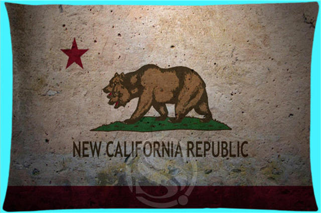 Hot Product Custom Pillow Case California Grizzly Bear Flag Element Rectangle Pillowcases Zipper MORE SIZE SQ00621