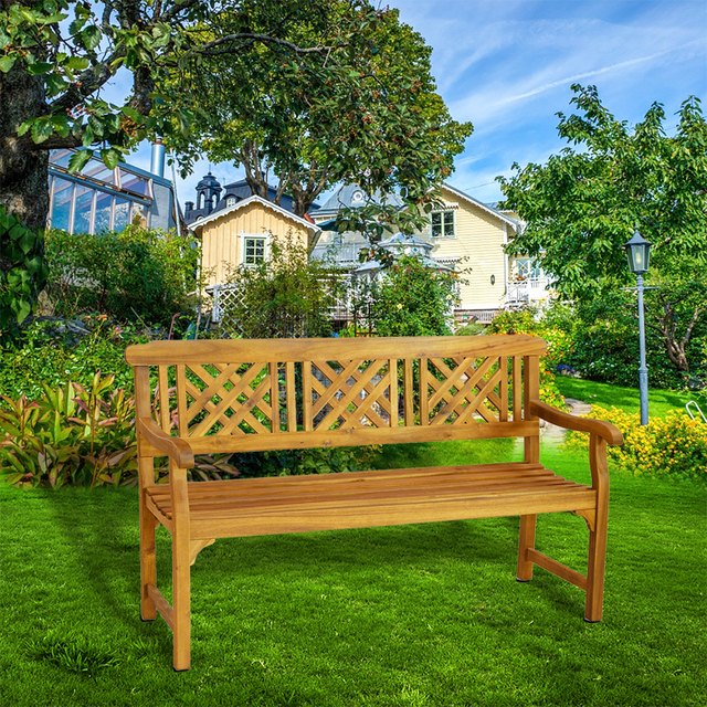 3 Seater Acacia Garden Patio Bench With Arms Outdoor Wooden Garden Furniture  Dropshipping