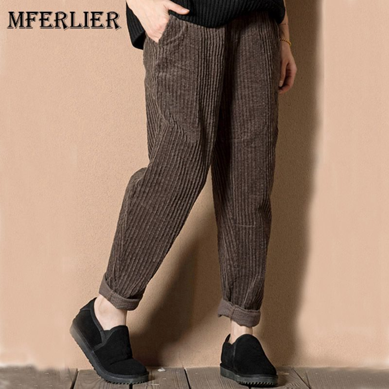 Mferlier Winter Women Pants Casual Loose Harem Pants Women High Elastic Waist Corduroy Plus Size Thicken Trousers