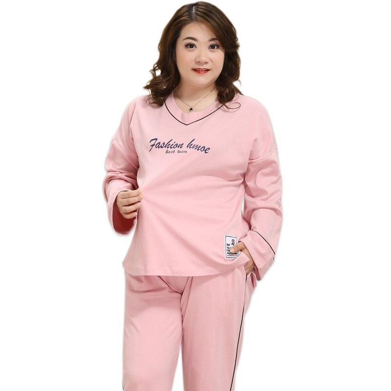 Plus größe XXXXXL rosa pyjamas für frauen pyjamas set winter 100% baumwolle pyjamas sets pijama verano mujer große größe 4xl 130 kg