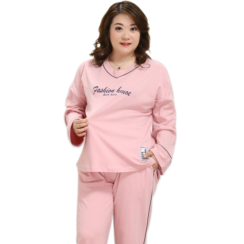 Plus size XXXXXL pink   pajamas   for women pyjamas   set   winter 100% cotton   pajamas     sets   pijama verano mujer large size 4xl 130KG
