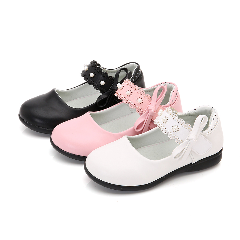2018 Spring Baby Girls Casual Leather Shoes Children Princess Shoes Pu Lace Bowknot Soft Bottom Kids Party Banquet Shoes