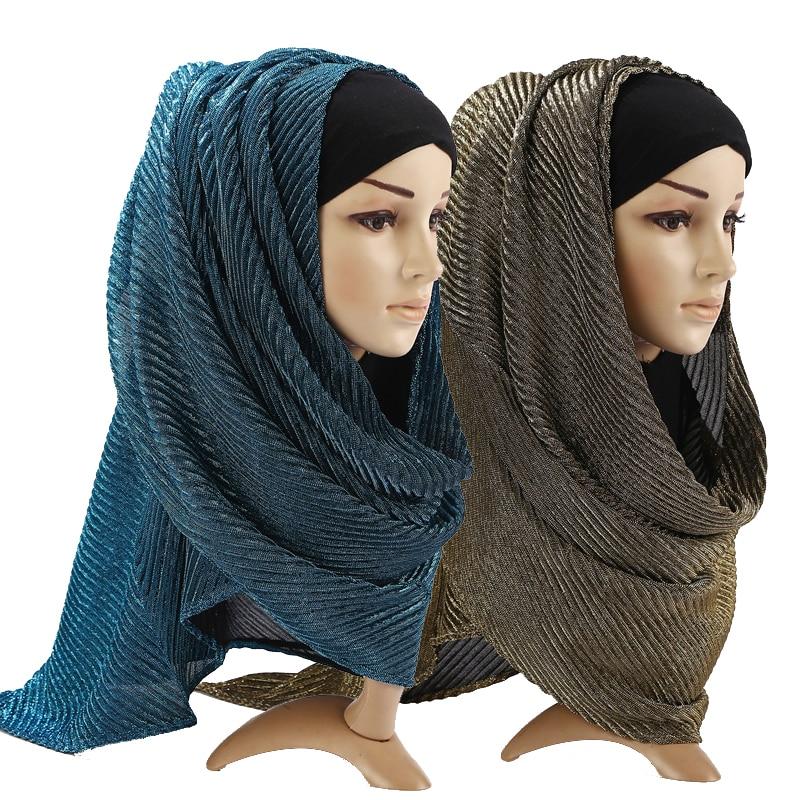 Luxury Brand Glitter Muslim Islamic Shawl Instant Headscarf Plain Wrap Foulard Dubai Hijab Femme Musulman Scarf Turban For Women