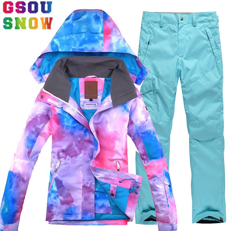 GSOU SNOW Brand Ski Suit Women Ski Jacket Snowboard Pants Winter Waterproof Mountain Skiing Suit Cheap Outdoor Sports Clothing gsou snow ski suit women skiing jacket snowboard pants winter waterproof outdoor cheap ski suit ladies sport clothing 2017 coat