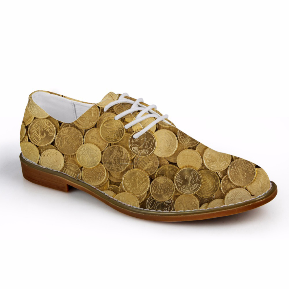 Customized Spring Fashion Coin 3D Print Mens Business Dress Shoes Lace-up Flat Leather Shoes for Men Casual Male Oxfords ShoesCustomized Spring Fashion Coin 3D Print Mens Business Dress Shoes Lace-up Flat Leather Shoes for Men Casual Male Oxfords Shoes