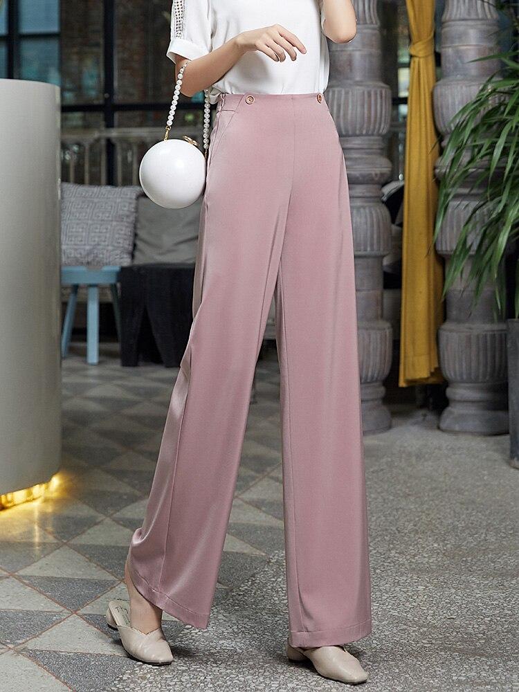Pink Chiffon   Wide     Leg     Pants   Women Summer 2019 New Workwear High Waist Plus Size Korean   Pants   Women Office Lady Full Length   Pants