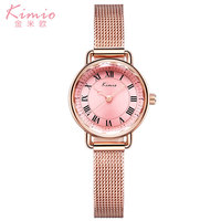 Mulheres vestido de relógios de luxo da marca KIMIO relógio de quartzo rosa de ouro relógio de presente banda de malha de aço inoxidável pulseira relógios de pulso quente