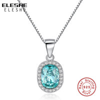 Elegant Natural Stone Sky Blue Crystal Necklace Pendant For Women Real Pure Solid 925 Sterling Silver