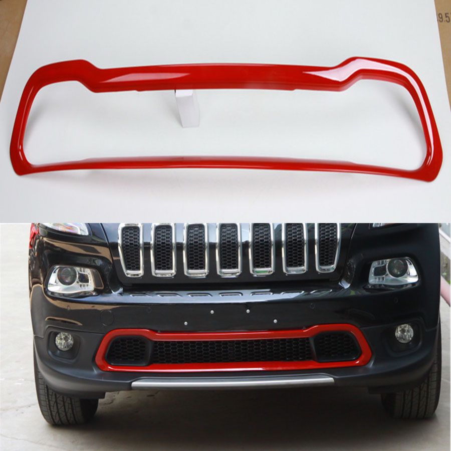 YAQUICKA For Jeep Cherokee 2014 2016 Exterior Car Front Grill Bumper Grille Decoration Trim Frame Sticker Cover Styling