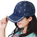 2016 otoño Nuevas Mujeres de La Moda gorra de Béisbol Sol Del Verano Jeans Vaquero perla Sombrero Casquette Chapeu Patchwork Casquillo Del Snapback de Béisbol