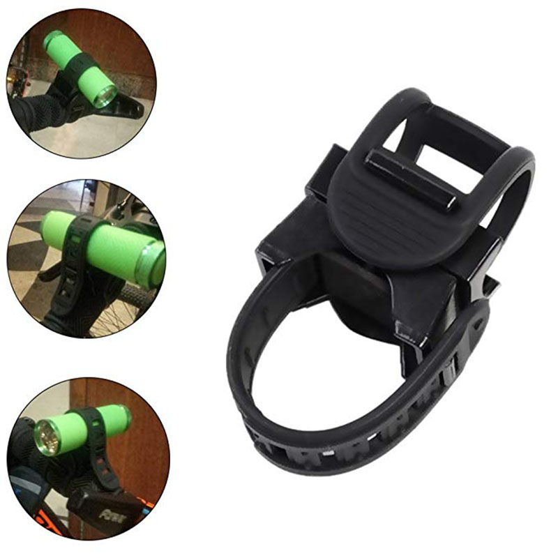 Cycling Bike Bicycle Light Lamp Band Strap Stand Holder 360 Rotation Grip LED Flashlight Torch Clamp Clip Mount