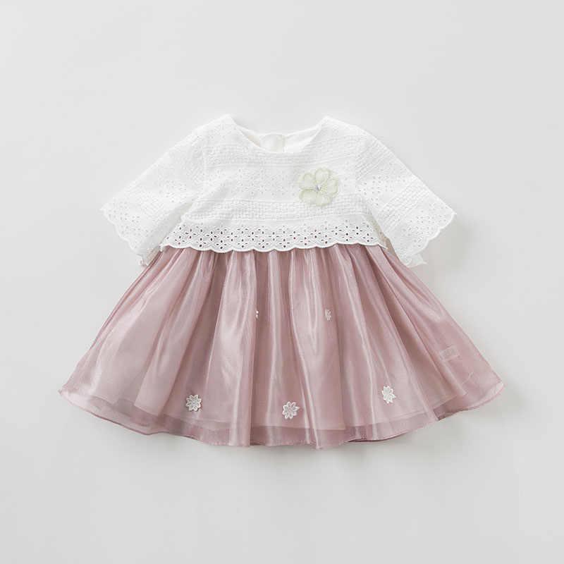 DBM9859 vestido de moda de primavera para bebés y niñas, vestido de fiesta de cumpleaños para niños, vestido de encaje de manga corta para niños pequeños