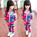 2016 Spring Girl's clothes sets children girl sport suit long sleeve hoodies jackets+pants kids 2 pcs suit set tracksuits 3-8Y