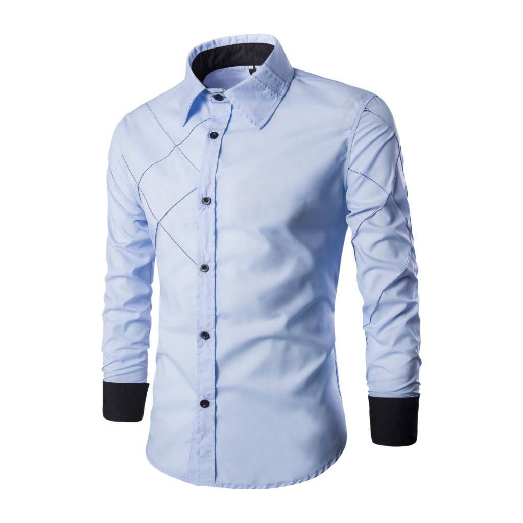 24hours Shipping 10Colors Men's Casual Slim Fit Shirts Men Full Sleeve Shirt