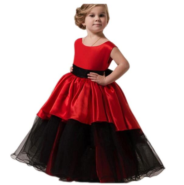 Girls Christmas Formal Dresses 2018 Flower Girls Dresses Kids Long Party Gauze Birthday Ball Gown Children's Wedding Dress Red girls formal dresses 2018 strapless flower girls dress off shoulder kids party gauze birthday ball gown children s wedding dress