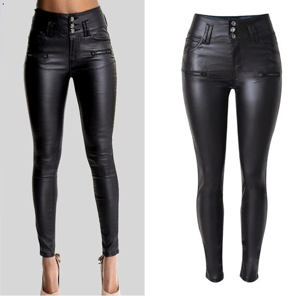 Skinny Women PU Leather   Pants   High Waist pencil   Pants   Trousers Women's Clothing   pants  &  capris   pantalones mujer