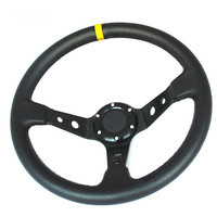 Universal 6 Bolts 14inch 350mm Steering Wheel Racing PVC Leather Deep Dish Steering Wheel Horn Button