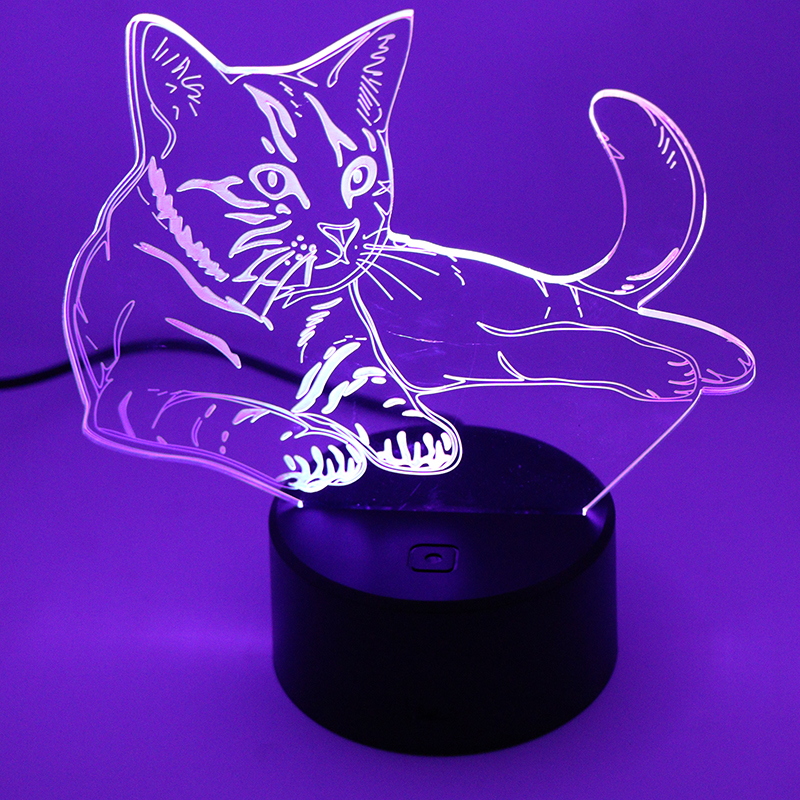 Novelty 3D Lamp Cute kitten Cat LED USB Lamp Touch Switch RGB 7 Color Changing Table Night Light Bedside Decoration LED Lamp 3d visual shark 7 color changing touch led table night light