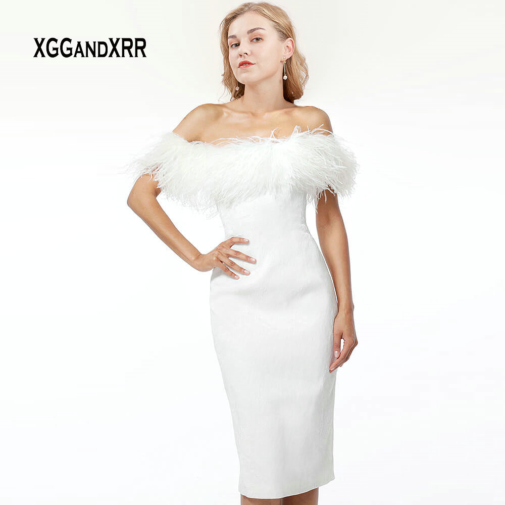 Elegant White Feather   Cocktail     Dress   2019 Strapless Off Shoulder Satin Knee Length Sexy Slim Fit Prom Party Gown Plus Size Gala