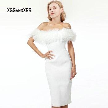 15ca34bc7 Elegante blanco pluma vestido de cóctel 2019 vestido de hombro de la  longitud de la rodilla Sexy Slim Fit baile vestido de fiesta Plus tamaño  gala
