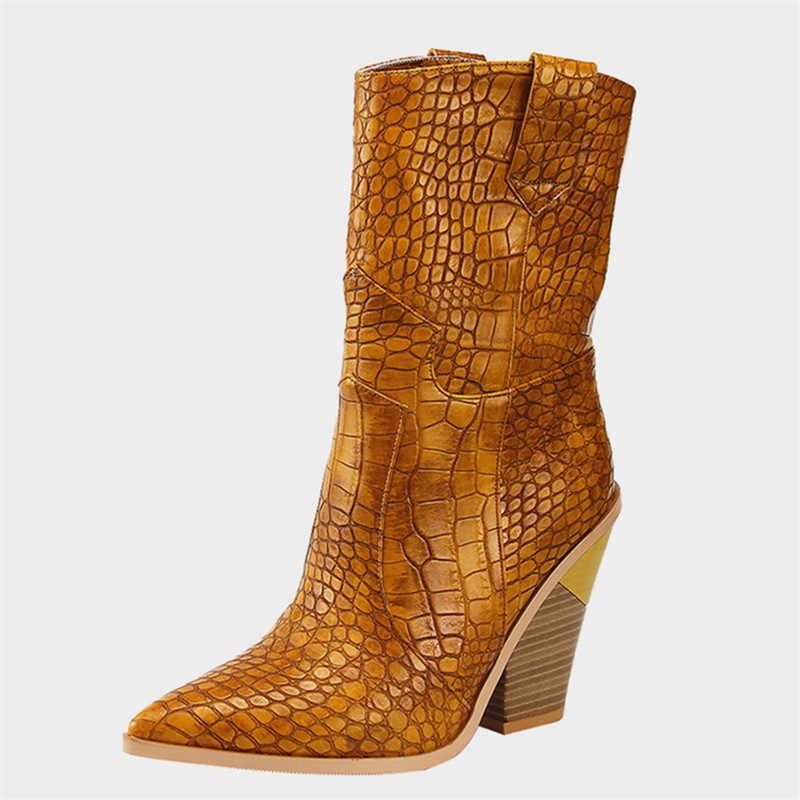 2019 г., размер 46, Брендовые ботильоны высокого качества женские осенне-зимние ботинки с острым носком Женские ботинки в западном стиле на Высоком толстом каблуке