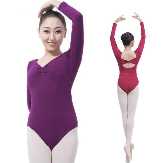 Adult Black Long Sleeve Ballet Dance Gymnastics Leotards Women Bodysuit  Sexy Cotton Spandex Leotard Cotton Spandex 7c0a47bbd