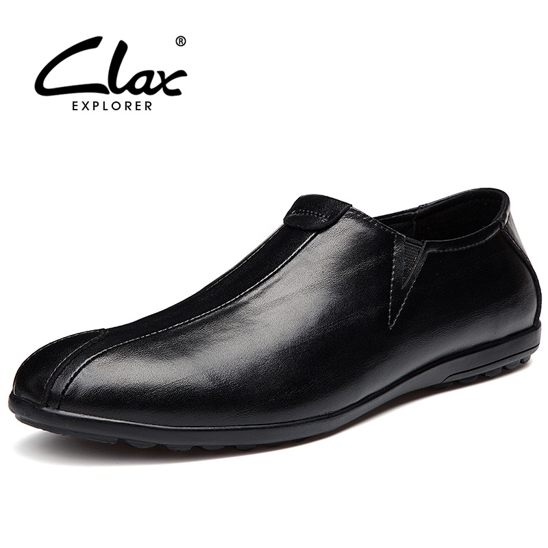 CLAX Men's Leather Shoes Casual Footwear Slipony 2018 Spring Summer Male Loafers Fashion Flats Shoe Leisure Shoe Lightweight clax men loafers shoes slip on 2017 summer autumn leather shoe for male casual footwear flat moccasin boat shoe breathable