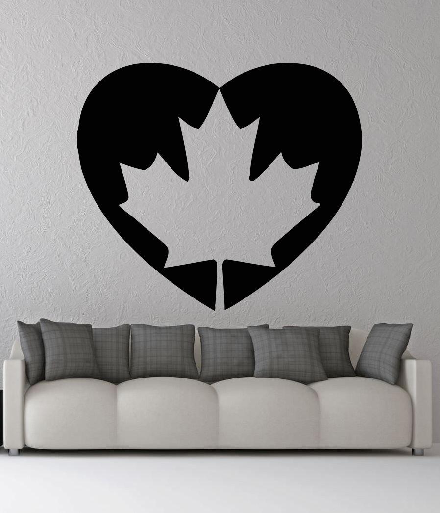 Canada Flag Heart Shape Wall Decal Patriotic Emblem Vinyl