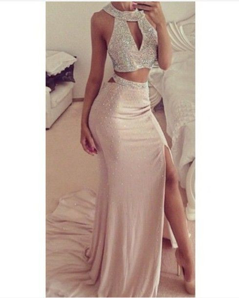 6a91c653eb2 Free Delivery Sexy 2 Pieces Prom Dresses 2017 Beige Halter Front Cutout  Side Slit Crystal Beads