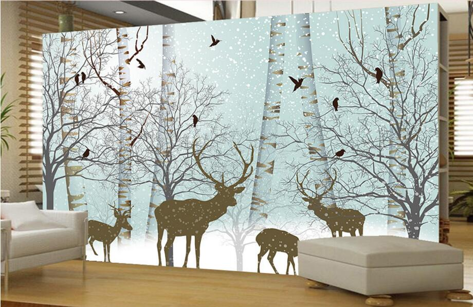 Custom mural wallpaper 3d,beautiful snow forest deer bird wallpaper,living room sofa tv background kids room papel de parede 3d wallpaper custom photo hd mural flowers deer forest tv sofa bedroom ktv hotel living room children room