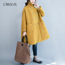2017 Autumn Winter Large Size Loose Woolen Coat Female Vintage Turn-down Collar Double-breasted Thickening Wool Woolen Coat(China)