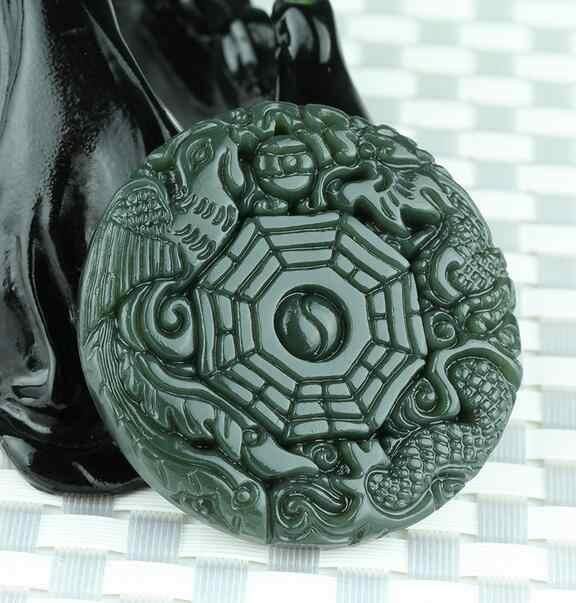 Naturalny zielony Hetian Jades wisiorek 3D rzeźbione okrągłe BaGua z smok feniks wisiorki kobiety mężczyźni Amulet nefrytu biżuteria Jades