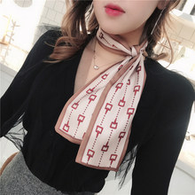 Summer women long scarf Clover Luxury Hair Bag Scarf Skinny Feel Silk Head-Neck Tie Vintage Women Satin Elegant Spring