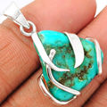 Genuine Sleeping Beauty Turquoise Pendant 925 Sterling Silver 33mm AP1275
