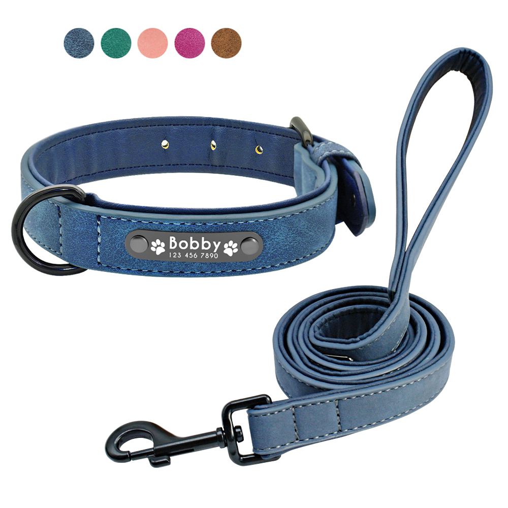 Custom Dog Collars Leather Personalized Pet Dog Tag Collar Leash Lead For Small Medium Large Dogs Pitbull Bulldog Pugs Beagle 1