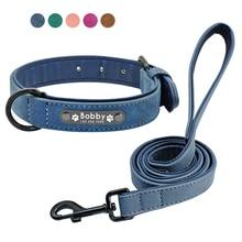 Custom Dog Collars Leather Personalized Pet Tag Collar Leash Lead For Small Medium Large Dogs Pitbull Bulldog Pugs Beagle