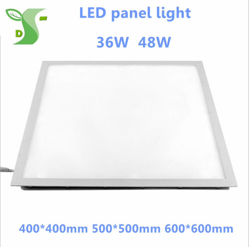 Ultra Thin 36W 48W aluminum square recessed LED Downlight lights 400*400 500*500 600*600 flat panel lights AC85 265V SMD2835