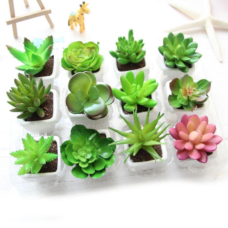 Cactus Simulation Flower Small Bonsai MINI Plant With White Ceramic Pot Artificial Succulents For House Office Desk Decoration