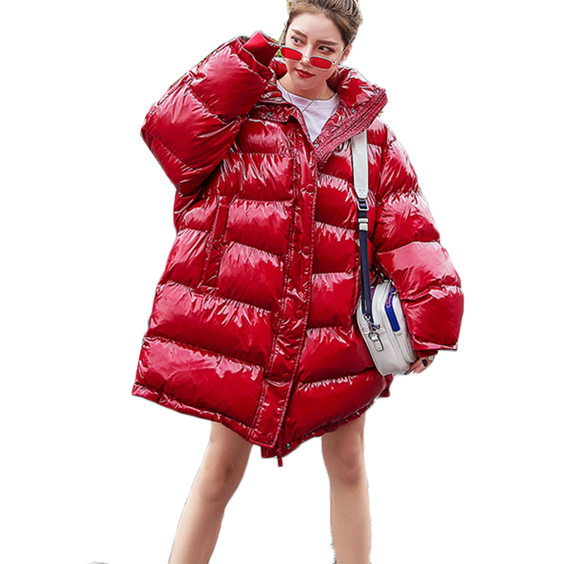 2019 Plus Size Loose Puffer Jacket Women Clothes Winter Coat Thick Warm Cotton   Parka   Korean Bright Metal Red Outwear