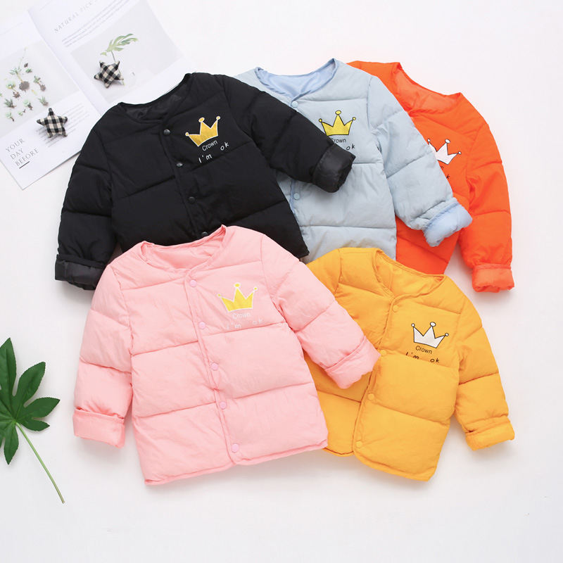 new 2018 fashion Boys Girls Winter Coat Baby Down Thin Jacket Casual Style Coats Children crown printing Clothing