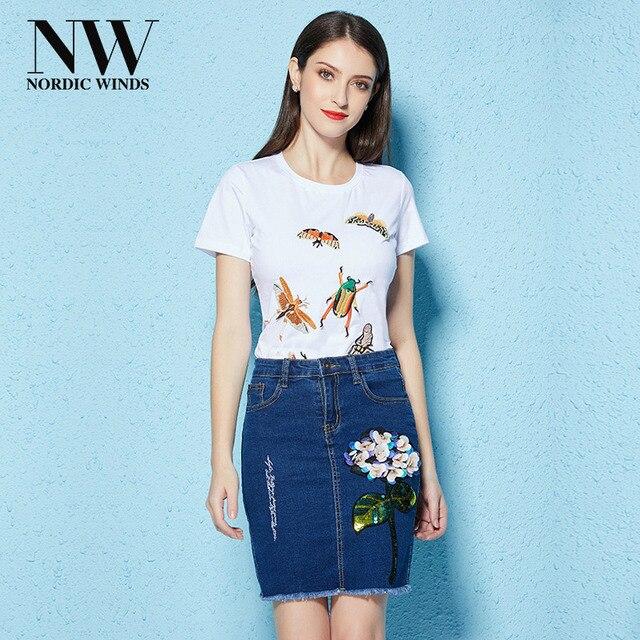 d7adb0ea9ba Women T-Shirt Denim Skirt Set High Waist Pencil Mini Jeans Skirts Applique  Animal Short Sleeve Round Neck Tshirts Slim 2018 Sets